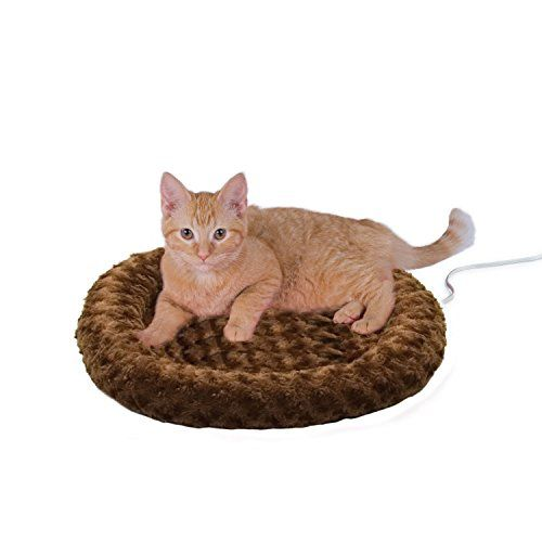 K&H Pet Products Thermo-Kitty Fashion Splash Heated Cat Bed Dimensions: 18L x 18W x 3H in. Available in your choice of color Made with textured polyester https://pets.boutiquecloset.com/product/kh-pet-products-thermo-kitty-fashion-splash-heated-cat-bed/