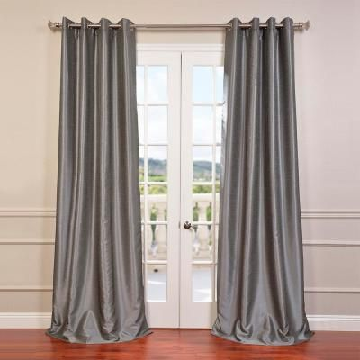 Exclusive Fabrics & Furnishings Storm Grey Gray Grommet Blackout Vintage Textured Faux Dupioni Silk Curtain – 50 in. W x 96 in. L