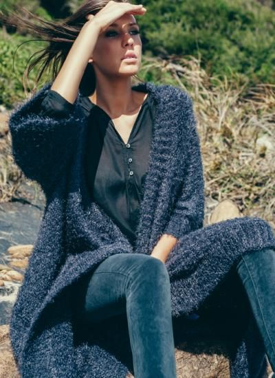 Fluffy Knit Oversize Cardigan / Charcoal | humidity DESIGN