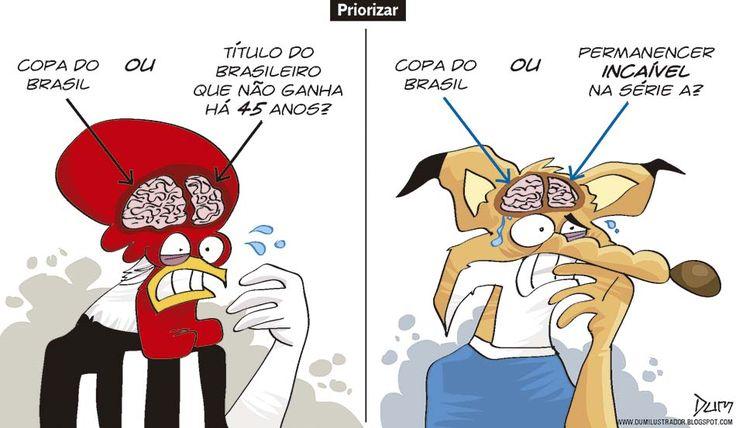 Charge do Dum (Zona do Agrião) sobre as situações de Atlético e Cruzeiro (21/10/2016) #Charge #Victor #Galo #Cruzeiro #Atlético #Corinthians #Juventude #CopaDoBrasil #HojeEmDia