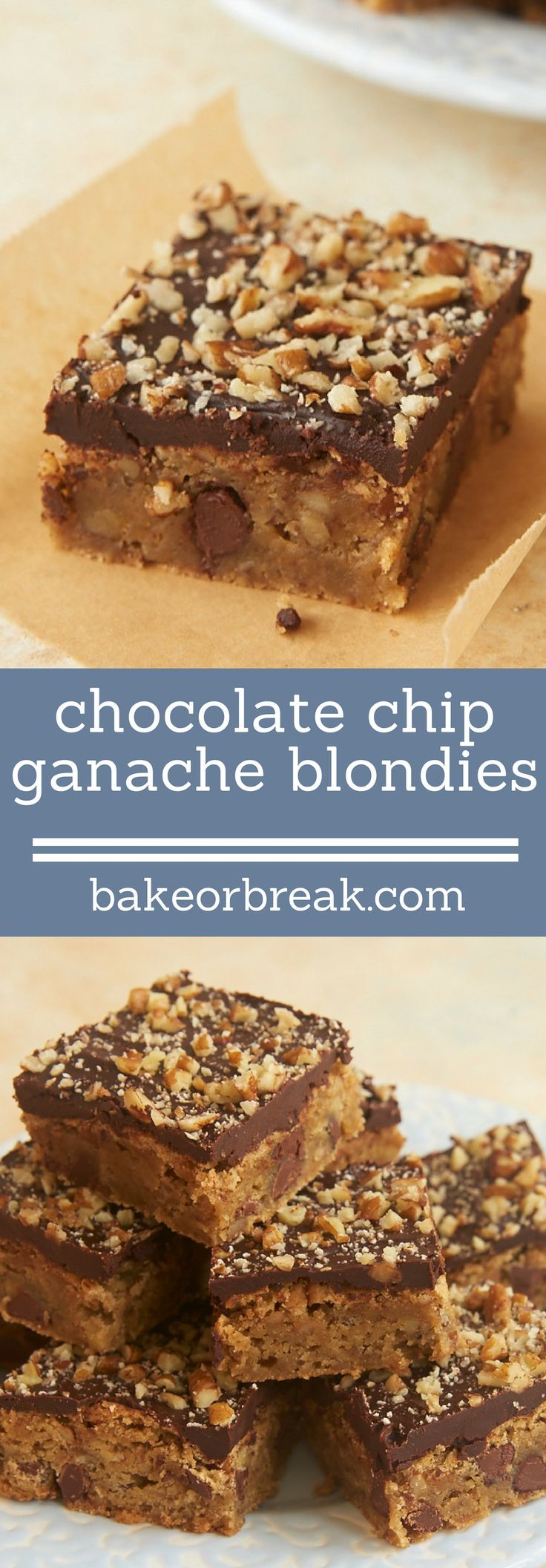 Simple blondies get all dressed up with a rich ganache topping in these Chocolate Chip Ganache Blondies! - Bake or Break