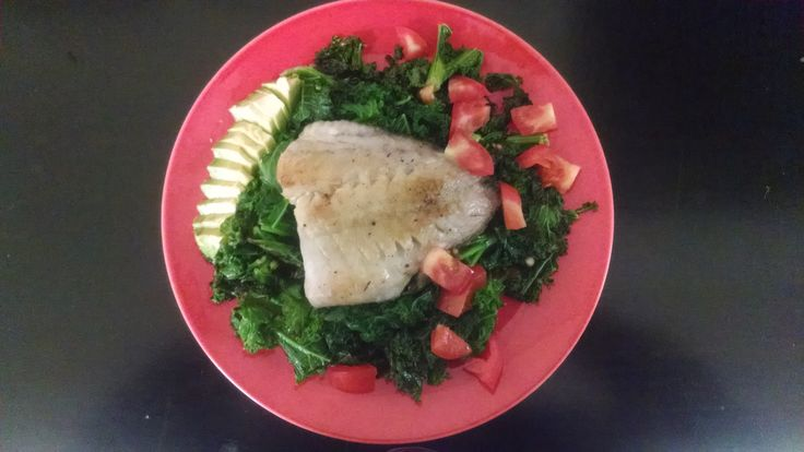 Anti-Inflammatory Diet - sample meal I prepared.  Chopped kale lightly pan fried (less than 2 minutes, low heat) in virgin olive oil; topped with pan-fried true cod (Atlantic, deep water); side dish of 1/4 avocado, quarter tomato; squeeze of lemon.  http://OptimalBodySystem.com