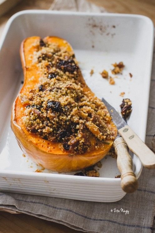 Vegan Stuffed Butternut Squash with Mushrooms and Couscous #couscous #salad #boursin #inspiration