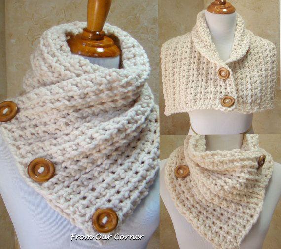 Crochet bufanda, bufanda del botón 3, abrigo de capucha, Dallas sueños bufanda crema 3 botones bufanda, deformación del hombro, listo para nave