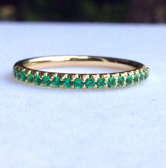 14K Solid Yellow Gold Half Eternity Band Ring with U Micro Pave Set Natural Emerald.  This Ring is Full of Elegance and Beauty! It is so Simple and so