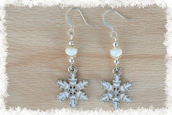 White Snowflake Earrings  Christmas Earrings  Snow Jewelry