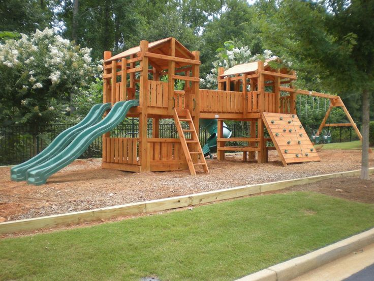 The 25 best wooden playset ideas on pinterest kids for Play fort ideas