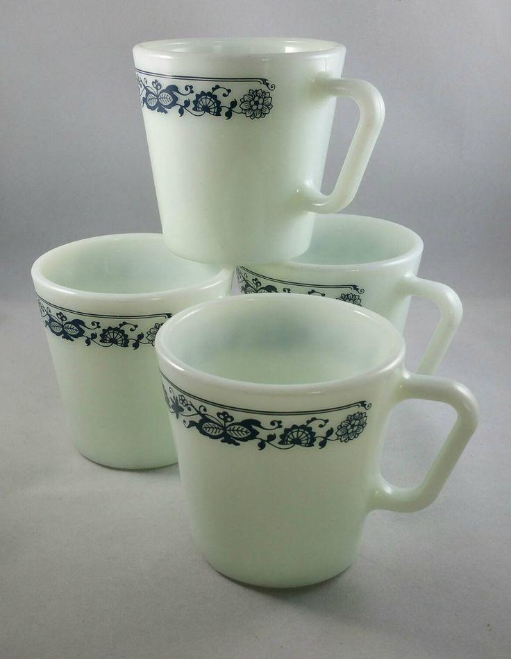 Vintage Pyrex Old Town Blue Coffee Mugs, Set of 4 Pyrex Coffee Mugs, Pyrex Mugs, Collectible Pyrex by EmptyNestVintage on Etsy