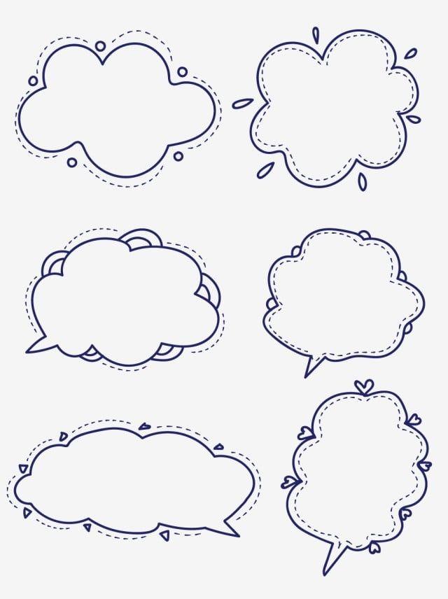 gambar bahan bentuk bingkai awan kartun comel garis dialog kartun cantik garisan png dan vektor untuk muat turun percuma di 2020 awan gambar awan gambar pinterest