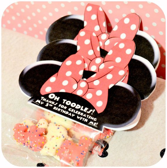 PRINTABLE - Minnie Mouse Party Favors Bag Toppers Three Easy Steps! 1) Purchase! 2) Print! 3) Party! This is perfect for your little