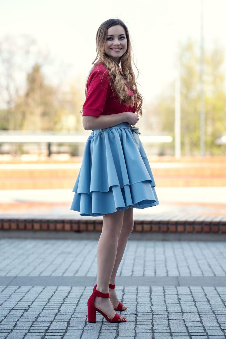 Spódnica z kokardą niebieska Cranberry