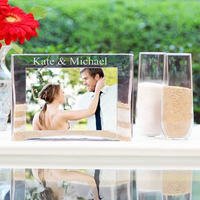We love, love, love this new unity sand ceremony set ... the glass photo vase is the perfect place for your favorite engagement photo and the personalization makes it an amazing keepsake. <3 $63.95 #wherebridesgo #weddings