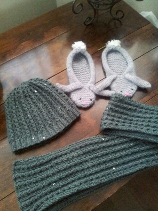 Knitted hat and scarf with sequins  and felted bunny slippers