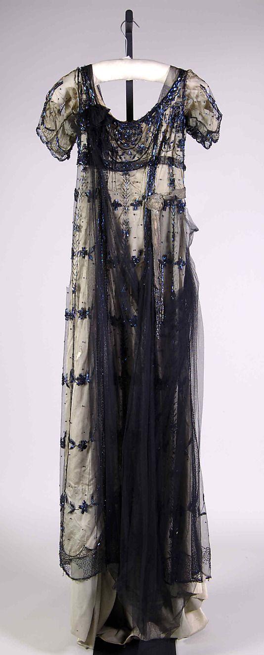 "1908-1911 silk, beads, and metallic Evening dress by Herbert Luey. Label: ""H. Luey/New York & Brooklyn"" - via MMA."