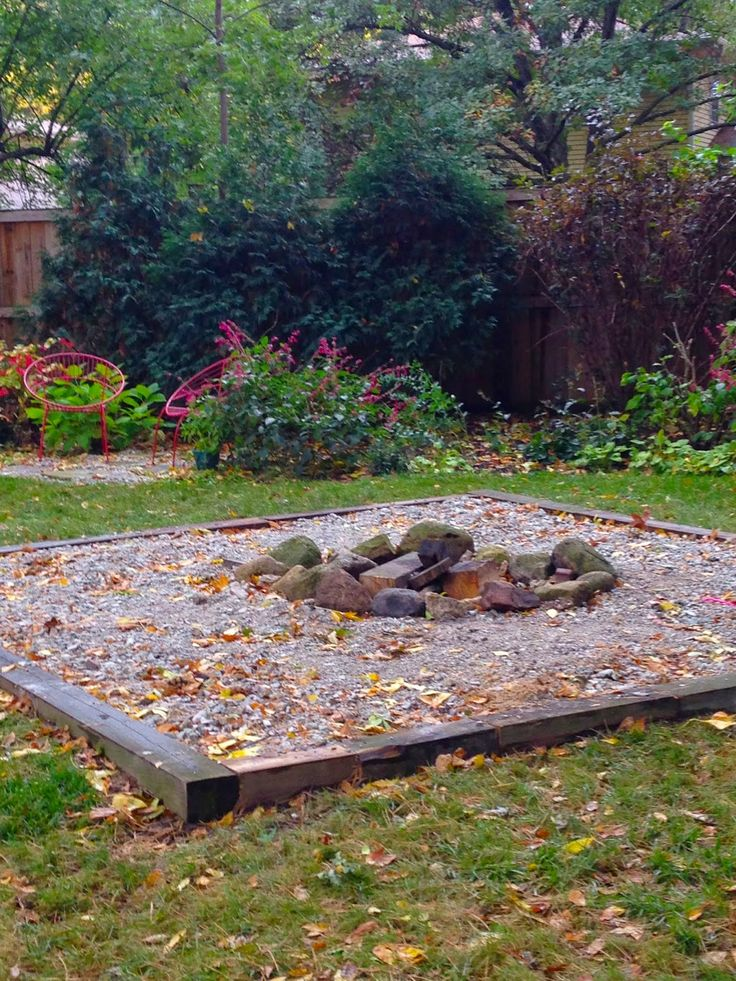 Simple fire pit design using cross ties, river rock, and