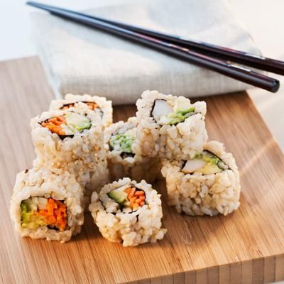 "Ask for brown rice sushi instead of regular white rice, Rathbun says. ""There are ample amounts of fiber in brown rice, which is important for maintaining healthy digestion and regular bowel movements. Brown rice is also a great source of manganese, selenium, and magnesium,"" she adds."