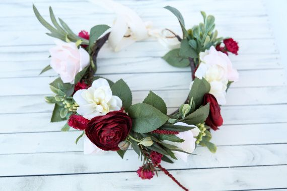 Fall flower crown headband burgundy and cream by FlowersLovers