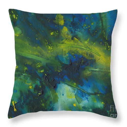 Green and blue abstract painting throw pillow by Tracey Lee Art Designs