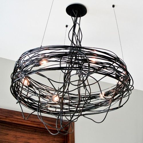 Hubbardton Forge Double Cirque Large: Spiral Nest Chandelier