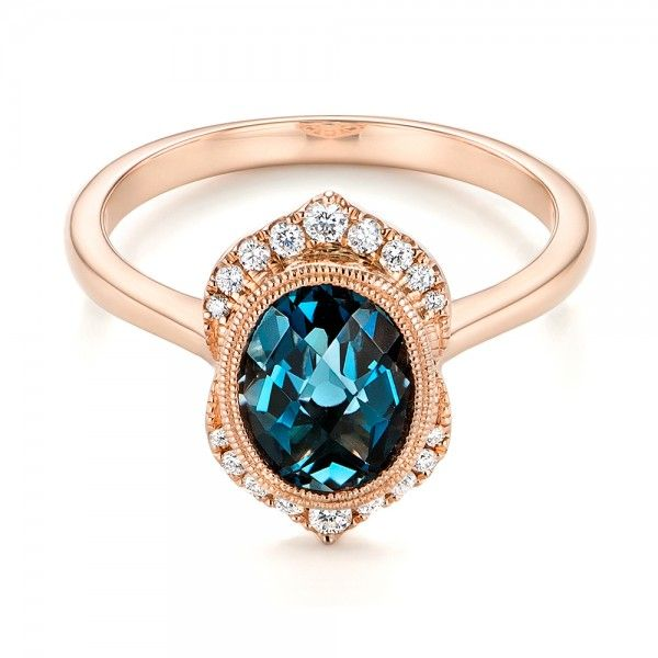 Rose Gold Diamond and London Blue Topaz Engagement Ring | Joseph Jewelry | Bellevue | Seattle | Online | Design Your Own Ring