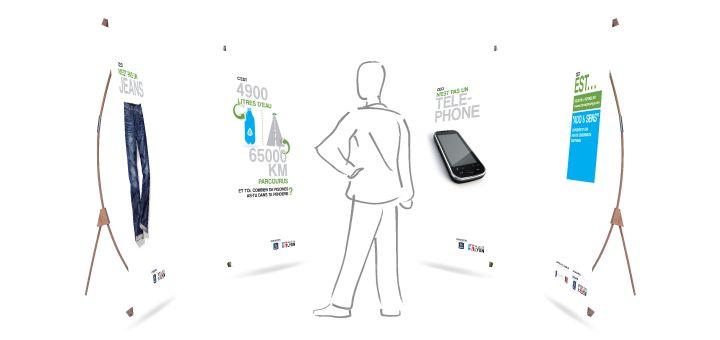Création graphique adaptée à l'éco-pop'up, support de communication créée par l'agence écodesign