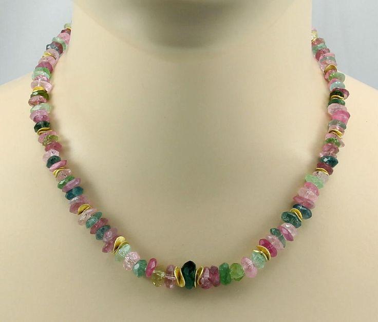 Turmalinkette  Turmalin rosa grün Halskette für Damen 46 cm - 245 Karat