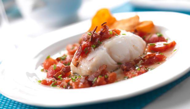 Stekt torsk med bacon og potetchips
