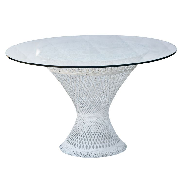 Genial Vintage Wicker Table With Glass Top