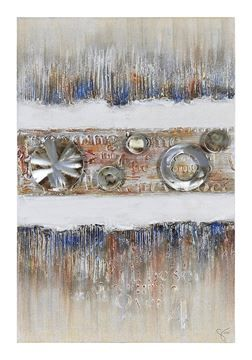 $75, Industrial Elegance II Wall Art OL911, 50'' x 4'' x 37'', Primary colors highlight the thick textures on this hand painted linen covered canvas and is highlighted with sheet metal accents, textural letters and a contrasting neutral background.