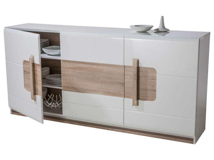 Buffet 3 portes LEVI coloris blanc prix promo Buffet Conforama pas cher 350.86 € TTC au lieu de 499 €