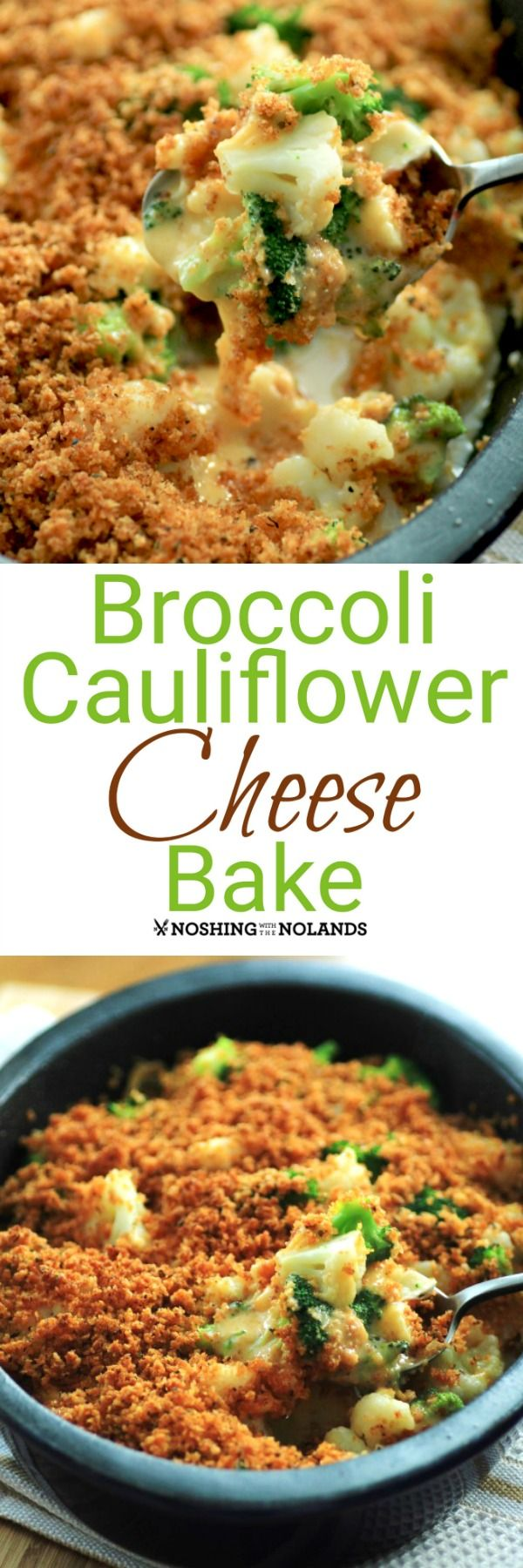 """1 lb. broccoli florets 1 lb. cauliflower florets 1 c  panko crumbs ¼ c melted butter 1 t. thyme,1 t oregano 1 T smoked paprika ½ t cayenne 1 t pepper ½ lb. Velveeta, cubed ¼ lb. Camembert, cubed Blanch the broccoli and cauliflower for 3 min. Drain,place immed in ice water. Drain,dry on paper towels. Mix crumbs, butter&spices.  Oven 450F. In a sprayed 8x11""""add the broccolli, cauliflower, Velveeta & Camembert. Top w crumb mix. Wrap w foil,bake for 15-20 min. Remove foil, bake 5 min"""