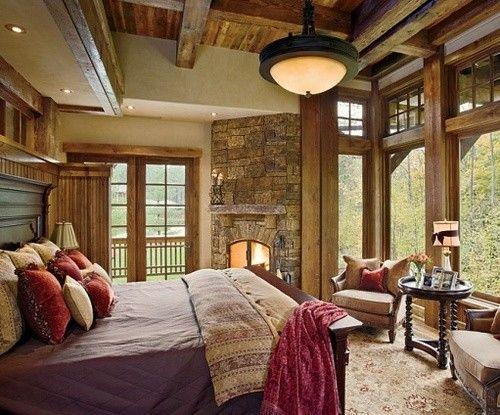 Cozy bedroom: Big Window, Dreams Bedrooms, Stones Fireplaces, Rustic Bedrooms, Bedrooms Design, The View, Master Bedrooms, Eating Houses, Cabins Bedrooms