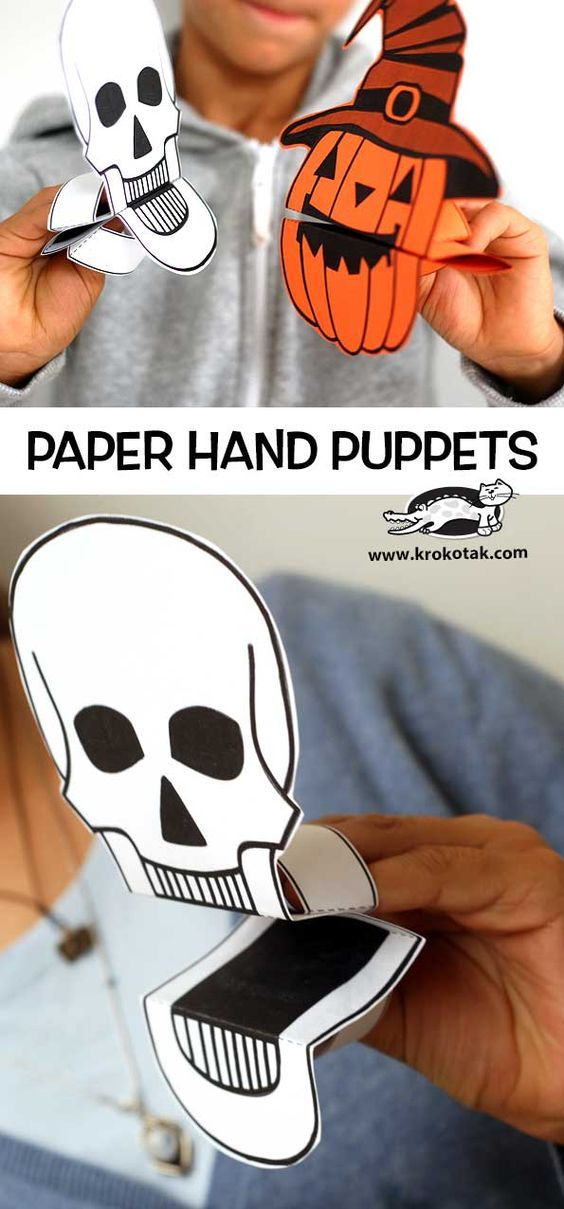 Paper Hand Puppets for Halloween
