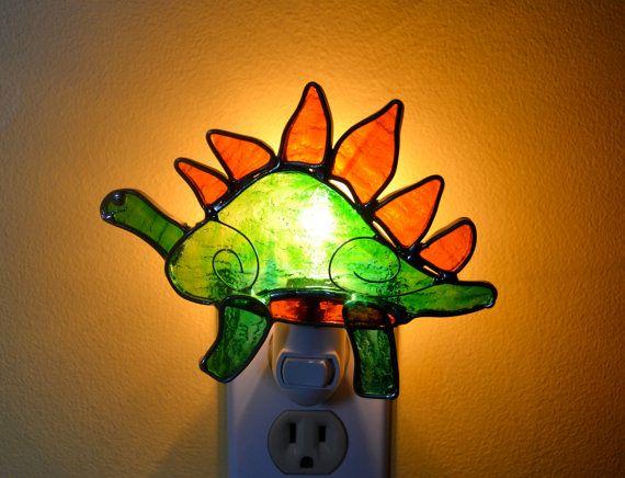 Hendrik the Stegosaurus  Stained Glass Nightlight by dortdesigns, $20.00