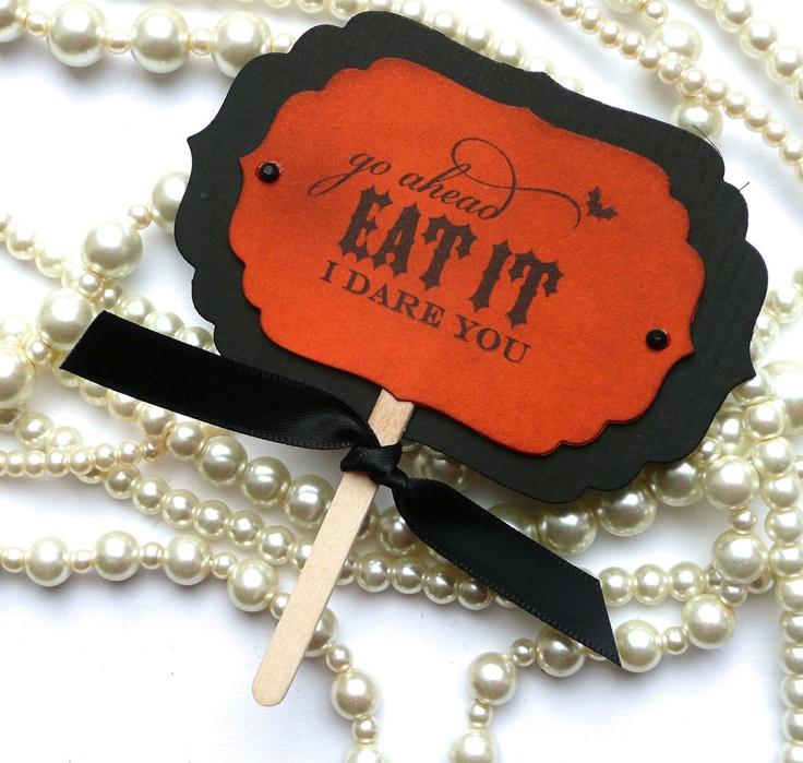 Halloween Candy Buffet Picks - Vintage Orange -  Set of 7. $10.50, via Etsy.