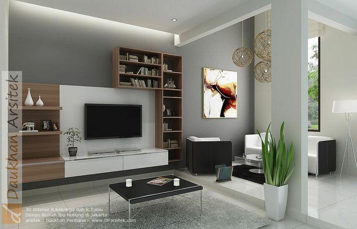 Sketsa 3D Ruang Keluarga dan Ruang Tamu. Project Desain Rumah di Kalibata Jakarta Indonesia. aRsitek by DPaRsitek - www.d-arsitek.com