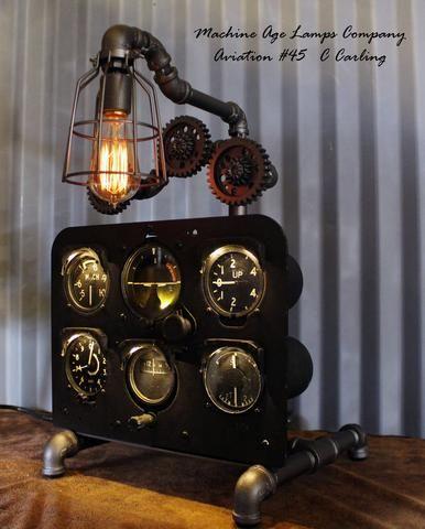 Vintage Industrial Instrument / Airplane / Jet / Aviation / British (RAF) Basic Six Instrument Panel Lamp  #CC45