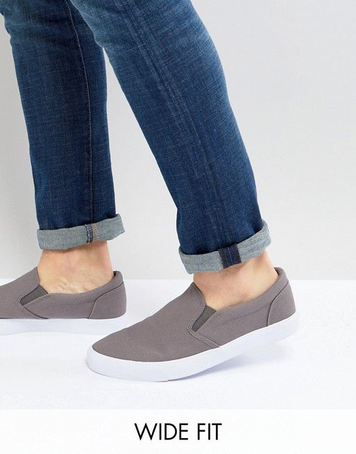 3d8eeb7a061 DESIGN Wide Fit slip on sneakers in gray canvas