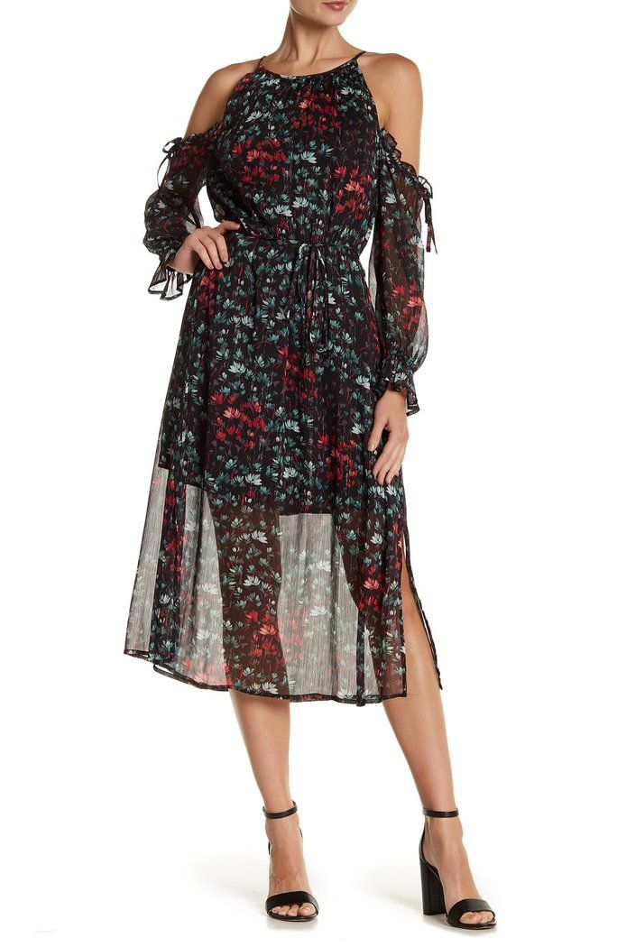 bbeac42a1ca11 1.State - Printed Cold Shoulder Midi  Dress  NordstromRack  Fashion  Women
