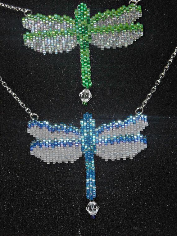 Iridescent Dragonfly Necklace Beadwoven Peyote by BeadedGreetings