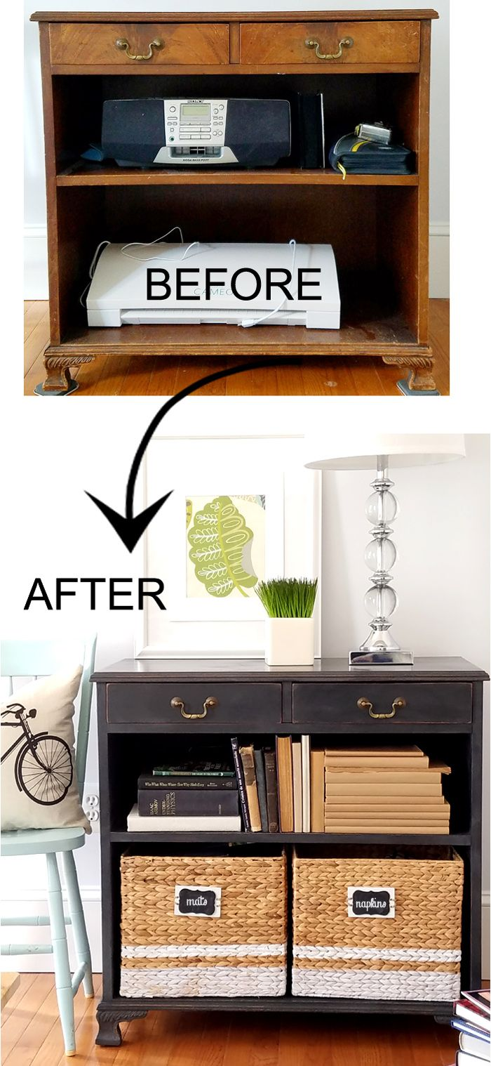 Old Bookcase cabinet makeover- Rust-Oleum Charcoal chalk paint