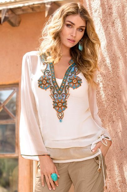 Multicolor beaded tunic top