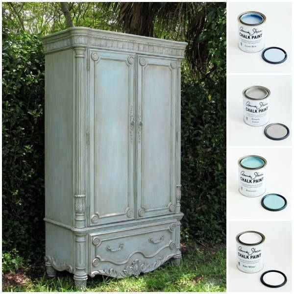 This charming armoire received a soft finish using Chalk Paint® decorative paint by Annie Sloan in Louis Blue. It was then given a wash of French Linen and Provence and finished with highlights in Pure White | By Stockist Kathleen Marie Pica of Dovetails llc - Estates & Décor, our stockist in Naples, FL.
