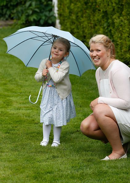 Princess Estelle of Sweden and Nanny Katie attend the 38th Birthday celebrations of Crown Princess Victoria of Sweden on July 14, 2015 in Oland, Sweden.