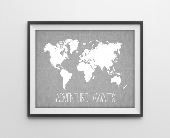 Travel Quote World Map Print - Travel Nursery Art Print Poster - Adventure Awaits - Travel Decor Gray Gender Neutral Bedroom Art Wanderlust