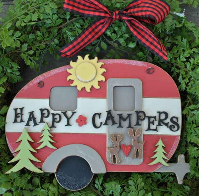 """Happy Campers"" Hanger    Includes: Red and white Camper Hanger, ""Happy Campers"", as well as the sun, tree, heart, flower and deer accent shapes as shown  Measurements: 7"" x 10.5""  Price: $41.95 See website for full pricing and customizing details."