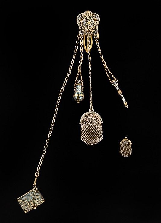 Chatelaine  Date: fourth quarter 19th century Culture: French (probably) Medium: metal, enamel, paper
