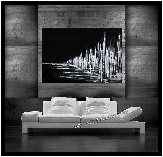 Les 25 meilleures id es de la cat gorie peintures d 39 art - Peinture noir et blanc moderne ...