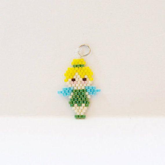 Seed Bead Fairy Charm/Pendant, Brick Stitch Bead Weaving, Miyuki Delica seed beads