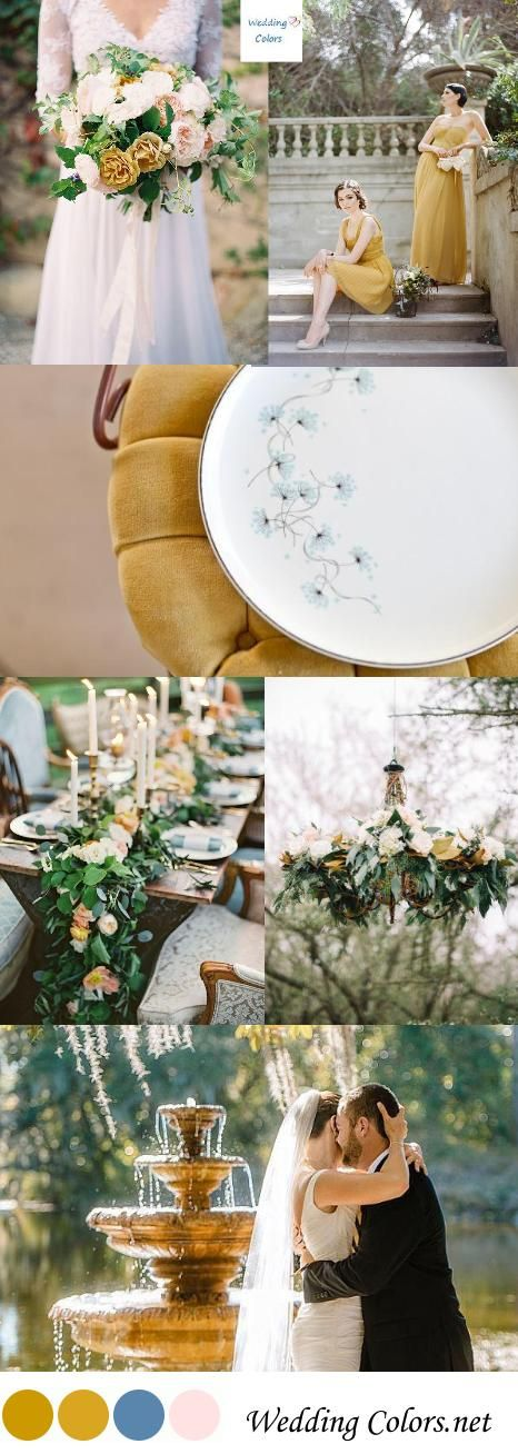 {Antique Gold, Blush & Dusty Blue} Fall Wedding Palette